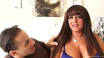 Thick brunette MILF with huge tits takes his dick deep