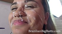 Clips4Sale.com/114318 teen brunette gets her face soaked in cum after being fucked by a big ass lover