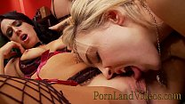 PORNLANDVIDEOS Licking Pussy Party with 4 horny sluts in sexy lingerie