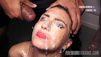 Premium Bukkake - Henna Ssy swallows 45 huge mouthful cum loads