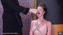 Beautiful babe in chains gets a b. face fucking and mouth a. session (Leah Winters)