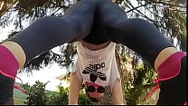 Your neighbor does yoga in the garden and squirts in her warm yoga pants