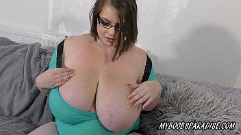 BBW Huge natural Tits babe playing with boobs and big nipples