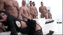 Big butt slut Veronica Avluv gets her asshole destroyed in 10 on 1 gangbang