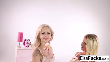 Elsa and Daisy play with some cupcakes and each other