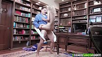 Nerdy babe gagging on her stepdads cock and gets her pussy so wet