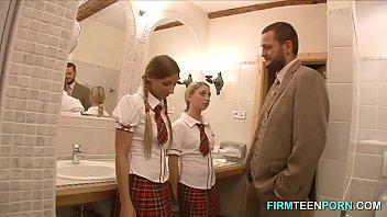 Naughty schoolgirls wont teachers big fat cock