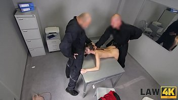 LAW4k. Sexy lassie pleases two Security officer so they can let her go home