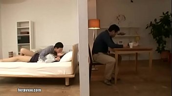 Japanese mom and son fuck while dad read newspaper