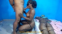 Ebony sexfriend giving me head on her knee while her friend is s.