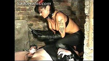 Slave gets his balls elektro shocked while mistress gave him a handjob 124