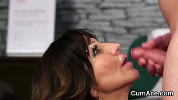 Feisty bombshell gets jizz load on her face eating all the charge
