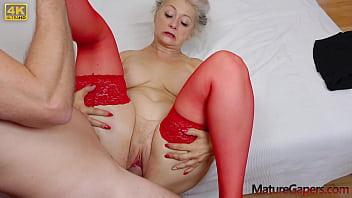 Pussy gaping and hard fucking of hot grandmam