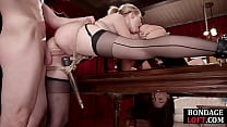 BDSM sub tied and dominated with dick in ffm