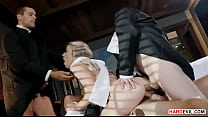 Popes punishing a schoolgirl in a foursome