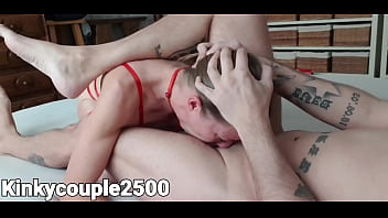 Hot milf in red lingerie gives extreme deepthroat