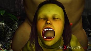 Green monster Ogre fucks hard a horny female goblin Arwen in the enchanted forest