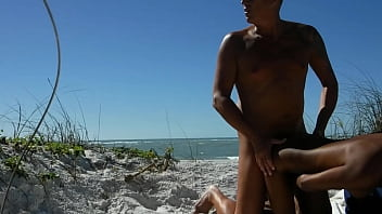 Voyeur beach fuck with big cumming.