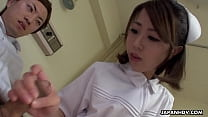 Japanese nurse, Reina Wamatsu rubs dick, uncensored