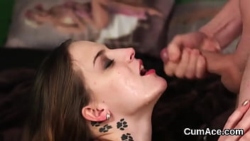 Foxy doll gets cumshot on her face gulping all the love juice
