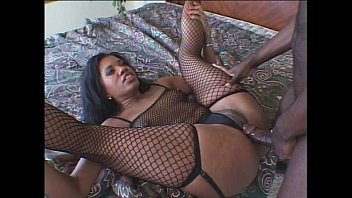 Super hot ebony in see-thru banged up both ends