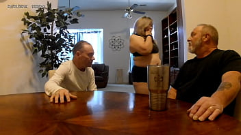 MILF Jucee Hotwife fucks landlord and sucks hubby to pay the rent
