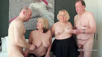 Two British mature blondes have a foursome 4 min