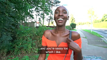 Public Agent Ebony model Zaawaadi taken into the woods for hard outdoor fucking 12 min