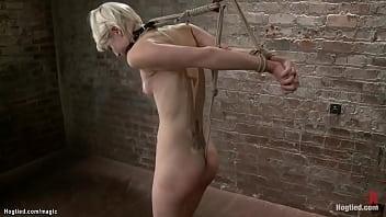 Blonde in spread suspension tormented