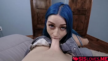 Jewelz Blu giving her stepbrother a footjob and makes him cum