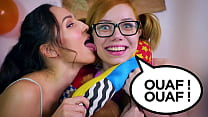 Girls love playing with DOUBLE DILDO and then give a DOUBLE BLOWJOB to Jean-Marie Corda