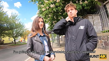 HUNT4K. Teen cuckold watches how his GF worships strangers dick