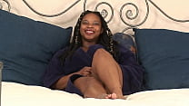 Big titty amateur ebony BBW rubs her hairless pussy