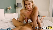 MATURE4K. Cheerful mature woman walked into mans room searching for sex