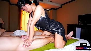 Mature amateur Asian MILF deepthroat massage blowjob for a big cock client