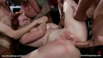 Slut anal gangbang fucked in biker bar 5 min
