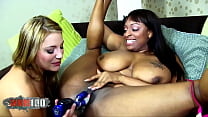 Fat ebony babe with enormous boobs fucked by a blonde babe