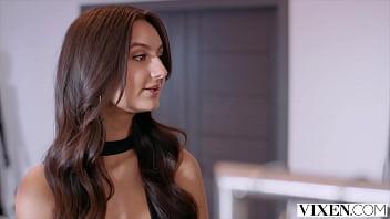 VIXEN Naughty salesgirl Eliza models lingerie for customer