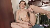 AuntJudys - 52yo Amateur Mrs.Gerda - Hairy Pussy in Panties 15 min