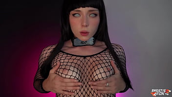 Hinata In Stockings Fucks Herself With A Huge Dildo