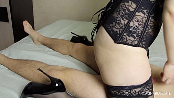 Hot Teacher in Stockings High Heels Blowjob and Fuck her Student 9 min