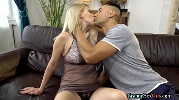 Beautiful busty grandmother gets doggystyled by lucky dude