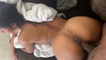 Petite Ebony Fucks Big Dick On Couch