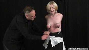 Blonde teen debutant submissive Weekays breast bondage and kinky domination