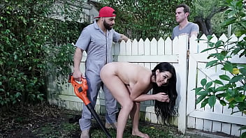 Sneaky Big Tits Wife Drilled By Gardener - Skyla Novea