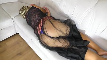 through the skirt you can see mom's ass and son fucked her big ass and gave a dick in his mouth