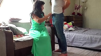 Mom could not resist her son and gave a blowjob and lifted her skirt for anal sex