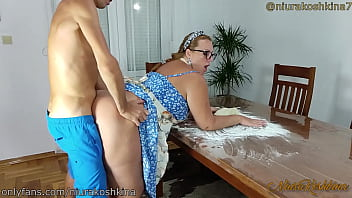 Pregnant Cooking Mom Gets A Fuck From Her Son Right In Her Kitchen  - MILF NiuraKoshkina 12 min