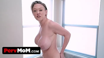 Horny Step Son Helps His Huge Boobed Step Mother In The Bathroom And Shaves Her Hard To Reach Spots