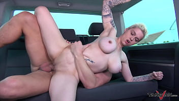 Short haired boosty blondie is clothed less in the countryside, she is taken in van for fuck and cum